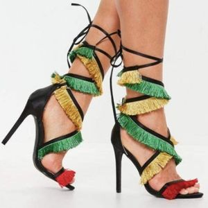 black multi tassel lace up heeled sandals
